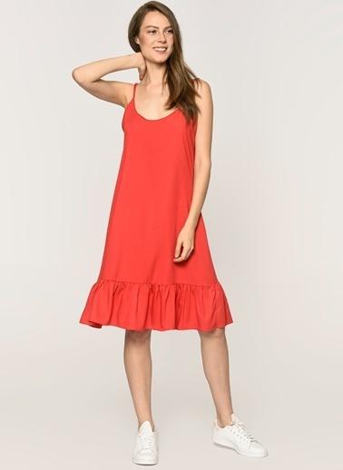 Loves You Ayarlanabilir Askılı Volanlı Tensel Elbise Kırmızı